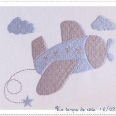 Motif de broderie machine avion avec des étoiles