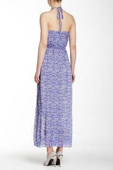 lavand. Pleated Maxi Print Halter Dress