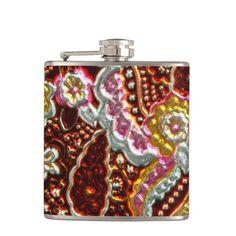 Faux Metallic paisley pattern fun flask