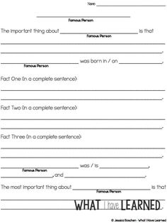 Biography Report Outline Worksheet  Projects To Try