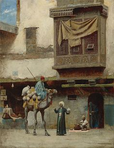 """Charles Sprague Pearce: """"The pottery seller in Old City Cairo"""",  oil on canvas."""