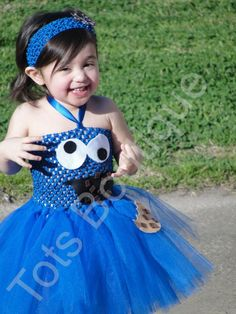 Aurelia's 2012 Halloween Costume  Tutu Dress  Cookie Monster Inspired  Infant by totsboutique, $35.00