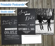Save the Date Wedding Postcard  Double Sided by NerdyKittenDesigns, $13.00 double-sided wedding postcard photocard diy custom  digital or print