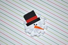 SNOWMAN Loopy Ribbon Sculpture Christmas Holiday Winter Hair Clip Bow DIY Free Tutorial by Lacey