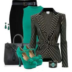 Love the emerald accent & black and white stripes ♥