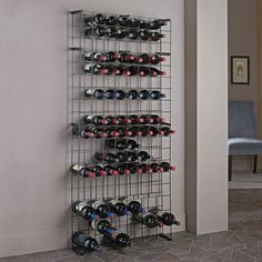Grid storage at a great price. The Black Tie Grid is a wine rack grid that holds up to 138-bottles (Top 15 rows hold 8 across for up to 120 standard Bordeaux * and bottom 3 rows hold up to 6 magnum bottles each.