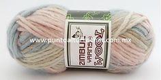 Wool, 30 %lana, 70% acrílico. No pica, es suave, esponjosa, Un abrigo o bufanda con agujas o ganchillo del Núm 8, quedaría genial.