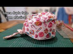 Como fazer uma touca dupla face com elástico ( molde grátis) - YouTube Scrub Hat Patterns, Scrub Caps, Refashion, Bandana, Scrubs, Projects To Try, Creations, Baseball Hats, Sewing