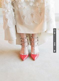 So cool! - a pair of Valentino beauties | Photography by   Read more - | CHECK OUT MORE GREAT RED WEDDING IDEAS AT WEDDINGPINS.NET | #weddings #wedding #red #redwedding #thecolorred #events #forweddings #ilovered #purple #fire #bright #hot #love #romance #valentines