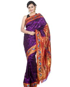 """""""Designer #purple #paithani #saree with rich borders. Shop now @onlypaithani saree store.  For more information Whatsapp @ +91 9820516447 or Email…"""""""