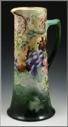 Superb W Guerin Limoges Porcelain Tankard w/ Grapes   eBay