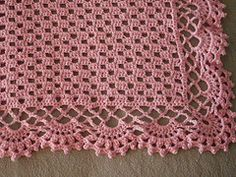 "Ravelry: Delicate Souvenir pattern by Kay Meadors ""Finished Size: 34 x"" Easy Crochet Blanket, Baby Afghan Crochet, Baby Girl Crochet, Knitted Baby Blankets, Baby Afghans, Afghan Crochet Patterns, Love Crochet, Filet Crochet, Baby Knitting Patterns"
