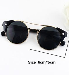 Black Lenses Gold Round Sunglasses
