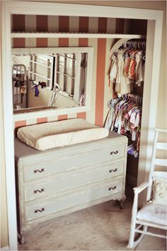 Nursery closet idea, perfect for a very small room or if the baby is to share a . Nursery closet idea, perfect for a very small room or if the baby is to share a room with an older sibling. Baby Room Closet, Kid Closet, Closet Bedroom, Kids Bedroom, Closet Ideas, Master Closet, Closet Dresser, Entryway Closet, Baby Dresser