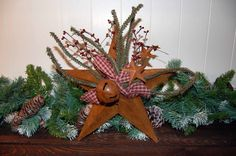 Image Detail for - Country Primitive Rusty Tin Christmas Decoration Door Hanger - www ...