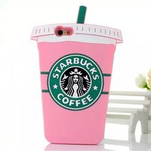 Hot Sale! Pink 3D Cartoon Starbuck Coffee Cup Silicon Phone Case For iPhone All Soft Back Cover For Samsung Galaxy Series For LG(China (Mainland))