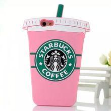 Venda quente! Rosa dos desenhos animados 3D Starbuck Coffee Cup silicone caixa do telefone para iPhone All Soft tampa traseira para Samsung Galaxy Series para LG