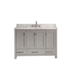 Modero Chilled Gray 48-Inch Vanity Combo with White Carrera Marble Top