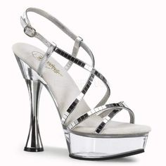 Pleaser Sweet 413 Silver Mirrored [413sc] - £46.79 : Heeler Dealers, High Heel Shoes | Pleaser Shoes | Bordello Shoes | Pin Up Couture | Funtasma