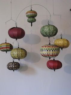 Hanging mobile vintage yellow green red black by LMackeyCreations, $50.00