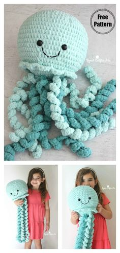 Not loom knit, Photo inspiration: Giant Octopus Crochet Pattern Free & Paid Apollo the Octopus is a life-sized snuggle buddy. This Giant Octopus Crochet Pattern is a large amigurumi with lots of repetitive parts. Octopus Crochet Pattern Free, Crochet Octopus, Crochet Motifs, Crochet Stitches, Free Pattern, Cross Stitches, Cute Crochet, Crochet Crafts, Crochet Toys