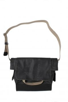 Brooks England LTD. - Bag - casual bag wearing by hand or over the shoulder with two handles and one adjustable shoulder strap, an exterior pocket, an internal mobile phone pocket and a zippered pocket, the bag is in canvas in dark grey color with black leather reinforcement on the bottom, handles and shoulder running, locking with magnet + two press buttons. Collection Brooks England LTD. Autumn Winter 2012 2013. Brooks England, Fall Winter, Autumn, Dark Grey Color, Casual Bags, Messenger Bag, Shoulder Strap, Satchel, Black Leather