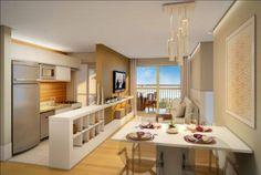 Salas e cozinhas conjugadas. Saiba como aproveitar todos os espaços.