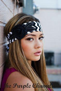 Black and White Chevron Headwrap,  Headband, Tie Headband with Black Flower Head Wrap Custom School Colors on Etsy, $16.00