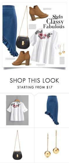 """Embroided Flower Embellished Ruffle Sleeve Babydoll Top"" by alejomarianne on Polyvore featuring Chloé and Hollister Co."