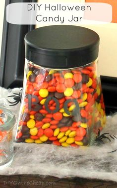 DIY Halloween Candy Jar: Quick & Easy Craft using Martha Stewart glass paint and stencils.