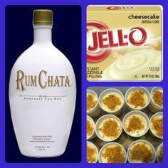 Rum Chata Cheesecake Pudding Shots (Share so ya don't lose it) 1 small pkg. Cheesecake pudding (instant, not the cooking kind) ¾ Cup Milk ¾ Cup Rum Chata tub Cool Whip Party Drinks, Cocktail Drinks, Fun Drinks, Yummy Drinks, Alcoholic Drinks, Yummy Food, Mixed Drinks, Party Shots, Healthy Food