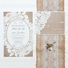 Lace and Burlap Wedding Invitations Bride on a by InvitingMoments