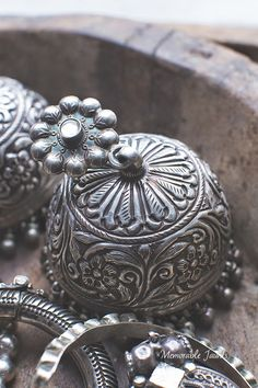 New beautiful handmade repoussé silver jhumka designed and inspired by traditional Rajasthani jewelry Oxidised Jewellery, Bead Jewellery, Silver Jewelry, Traditional Indian Jewellery, Indian Jewelry, Silver Jhumkas, Jhumka Designs, Indian Embroidery, Bangles