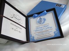 Cornflower blue and chocolate acrylic invitation with crystal detail in chocolate silk box