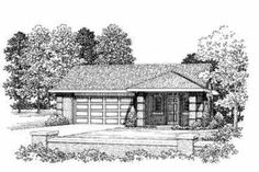 House Plan 72-283 Garage with small apartment