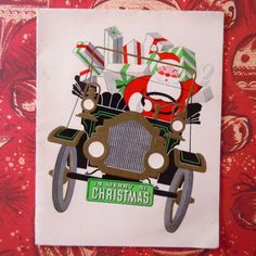 Vintage-Mid-Century-Christmas-Card-Santa-Claus-Driving-an-Antique-Car-Automobile
