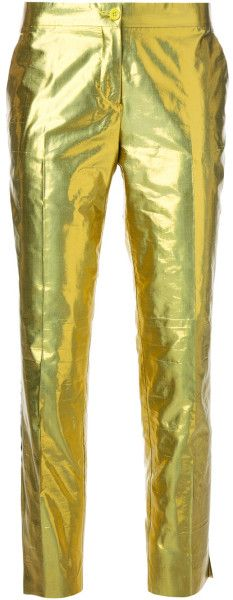 Gold-tone silk blend metallic trouser from Etro featuring a concealed zip fastening, side pockets and a tapered leg. Metallic Trousers, Stylish Rings, Gowns Of Elegance, Celebrity Look, Your Style, Dream Wedding, Womens Fashion, Fashion Trends, Metallic Clothing