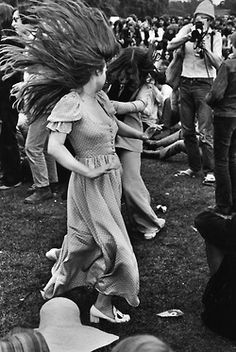 Two girls get their groove on at Woodstock