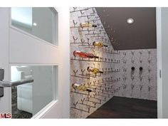 Contemporary wine storage. Light and airy space.