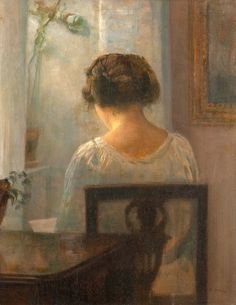 Carl Vilhelm Holsoe - Woman Reading in an Interior