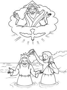 Bautismo De Jesus Para Colorear Sud