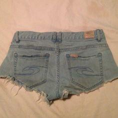 ripcurl shorts light wash denim cut off ripcurl shorts Ripcurl Shorts Jean Shorts