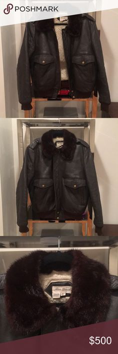 MAKE OFFERS!!!  MINK COLLAR '80s LEATHER BOMBER GENUINE MINK COLLAR.  Vintage bomber jacket made of leather.  Mink collar was an extra my dad attached back in the '80s whilst in medical school.  He let me sell the jacket.  The leather is representative of its age and feels like most vintage leather jackets.  The mink collar alone is probably worth more than what I'm asking for this jacket.  Brooks Brothers sells standalone mink collars for $995 on their website.  Mink coats go for about $10K…