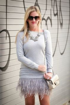 Party Dress / Staci of Leather and Leops in our Haute Hippie french terry sweatshirt dress with feathers!