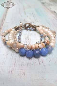 Pearl Boho Chic Bracelet, Blue Agate and Pearl Bracelet , Multi Strand Beaded Bracelet, Bridesmaid Gift by VintageRoseGallery Leather Jewelry, Boho Jewelry, Beaded Jewelry, Jewelry Ideas, Strand Bracelet, Pearl Bracelet, Bangle Bracelets, Boho Chic, Boho Style