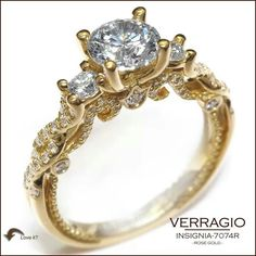 Verragio Rings, white diamonds, gold, vintage