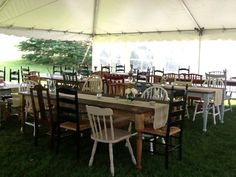 picture of harvest tables and different chairs