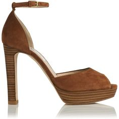 L.K. Bennett Selina Platform Ankle Strap Peep Toes ($355) ❤ liked on Polyvore featuring shoes, sandals, tan, platform sandals, ankle strap platform sandals, evening sandals, high heel platform shoes and tan platform sandals