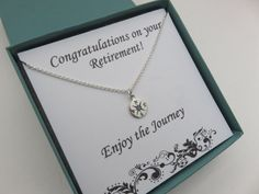 Retirement gift for women, graduation gift for her, compass necklace, sterling silver, message, quote, silver compass, travel jewelry