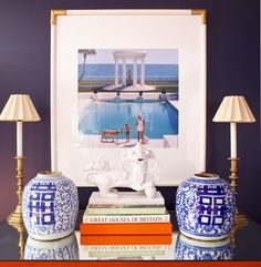 Guest room suite details  Interiors by Parker Kennedy Living  Slim Aaron artwork, blue and white antique chinoiserie double happiness jars, white foo dog